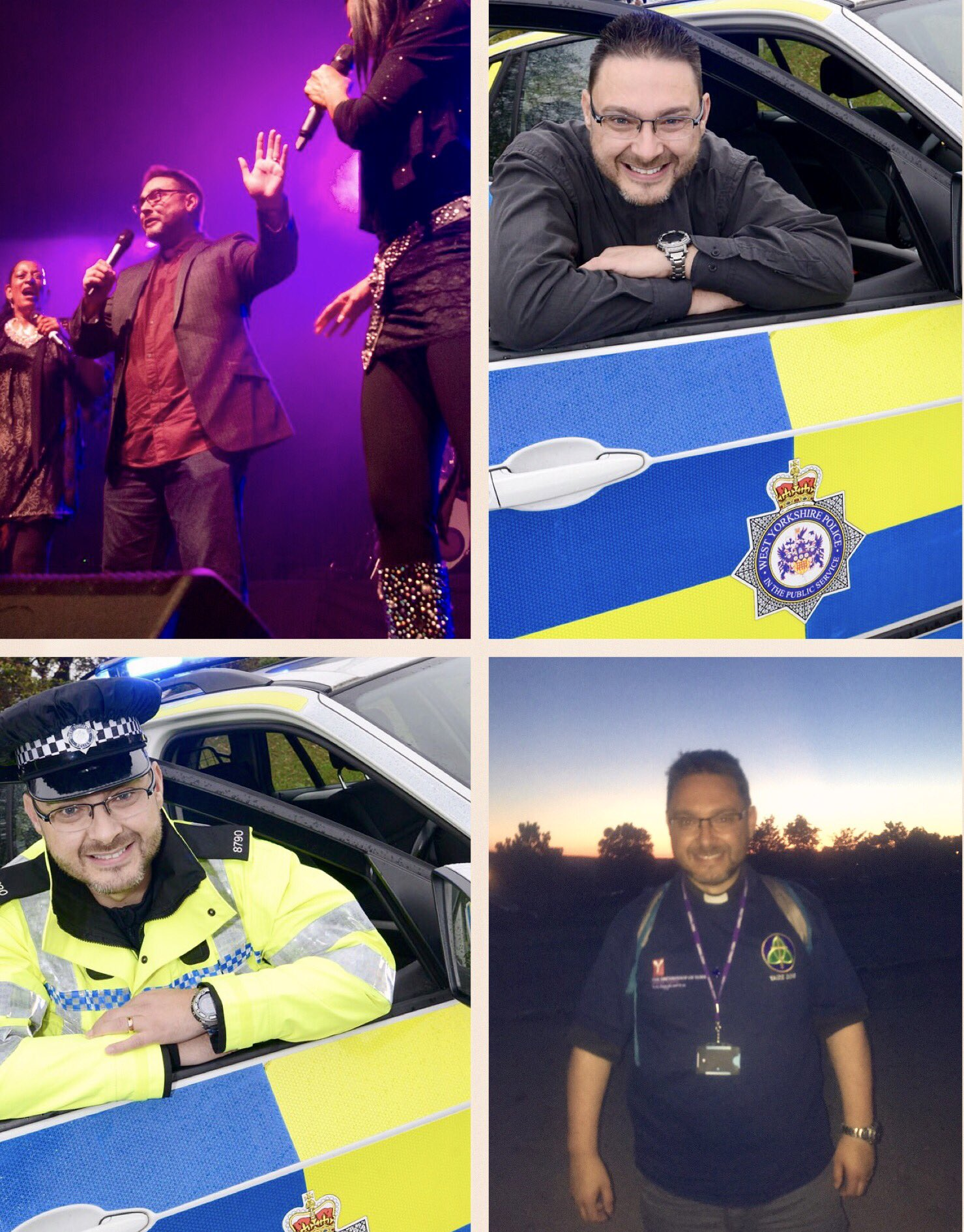 Four images showing Senior Section Officer Paul Cartwright on duty