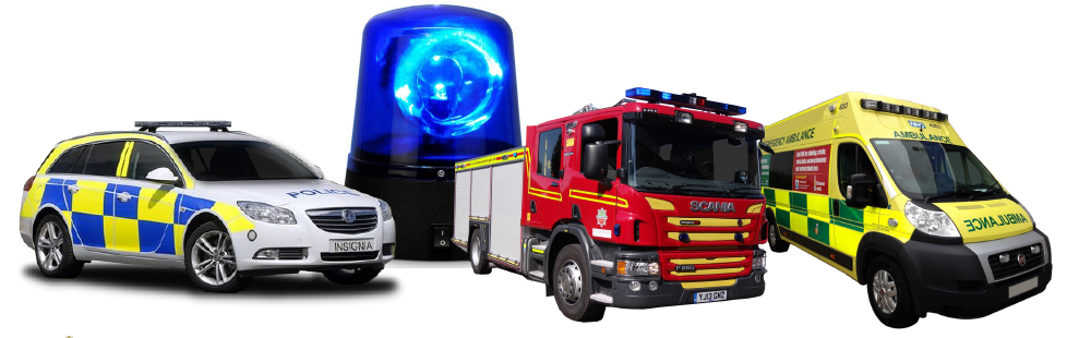 Blue light emergency services vehicles