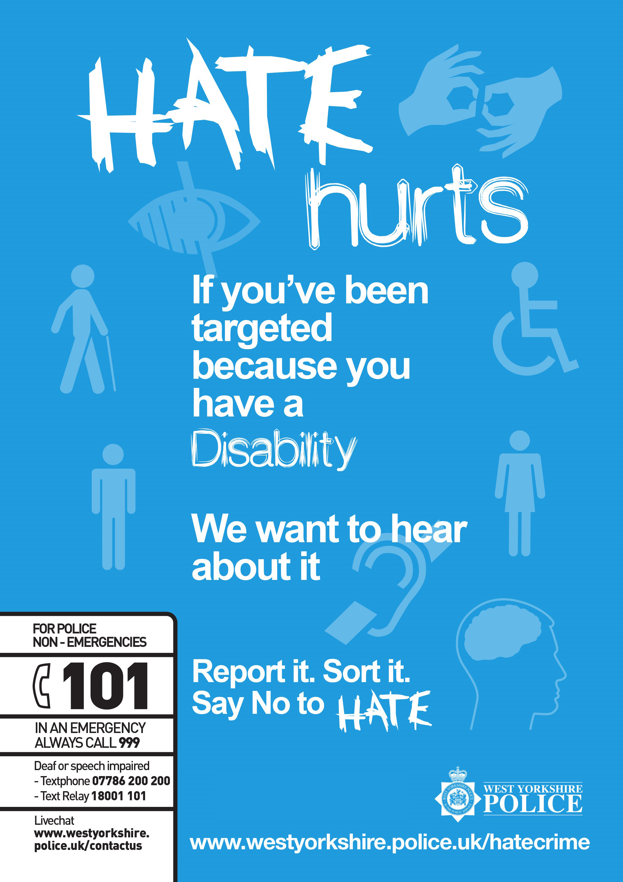 Hate Hurts Poster - Disability
