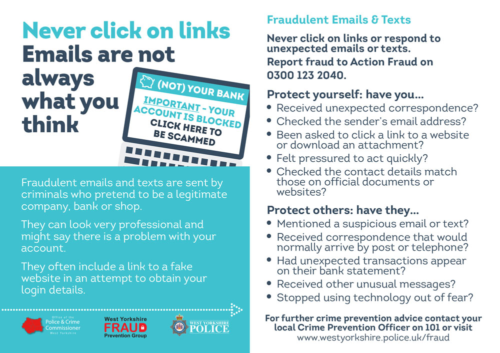 Fraudulent emails and texts leaflet