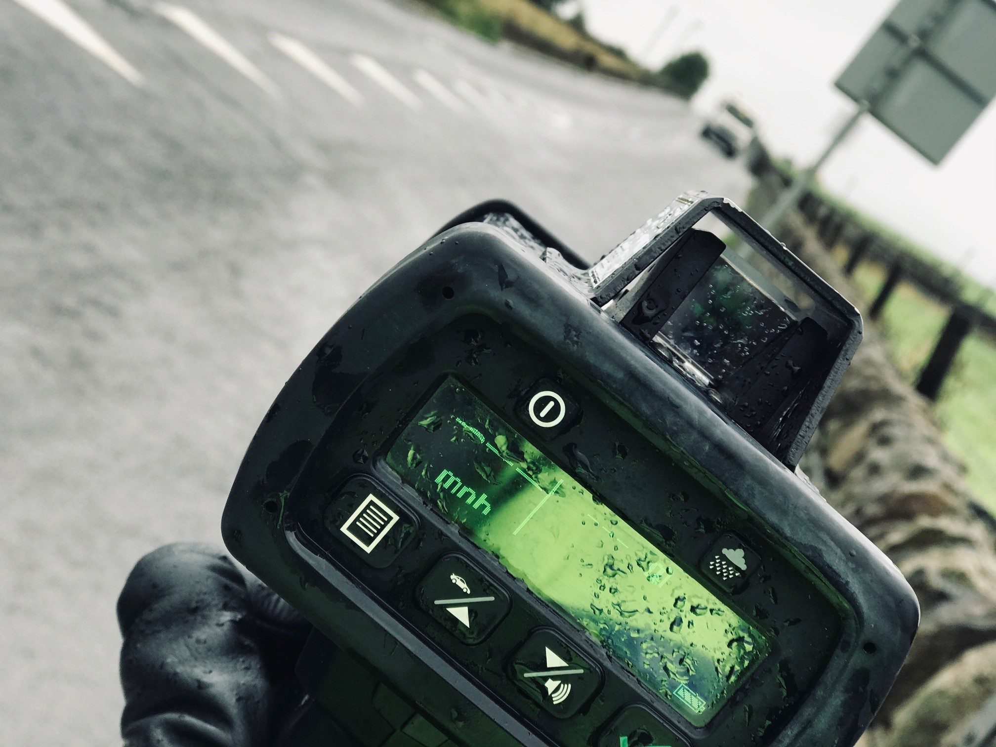 officer carrying out speed checks on Keighley Road, Pecket Well