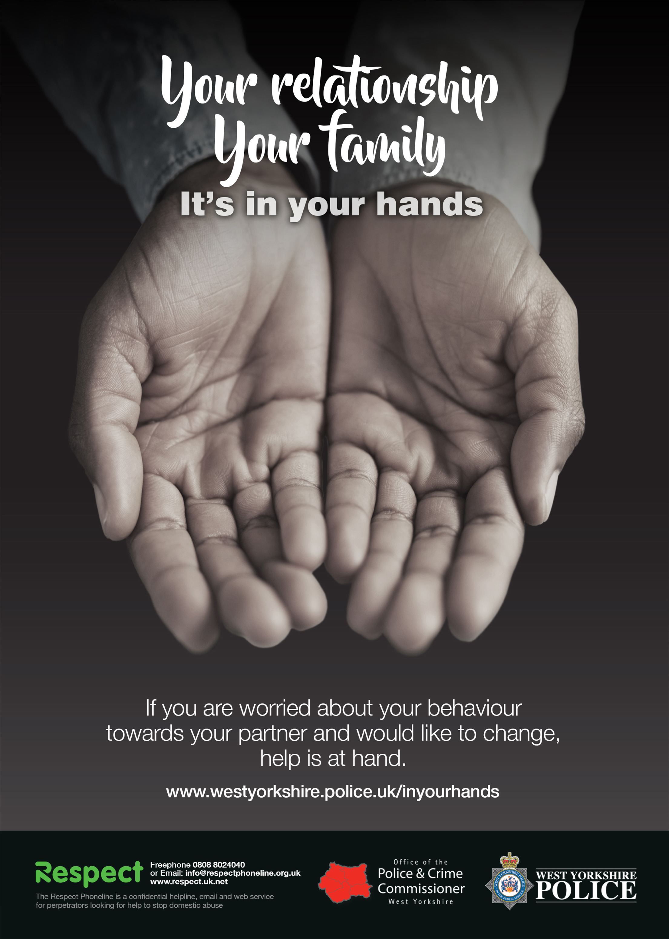 Your relationship, your family. It's in your hands. (male hands)