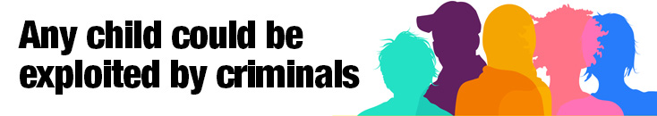 web page banner with colourful silhouetted outlines of children