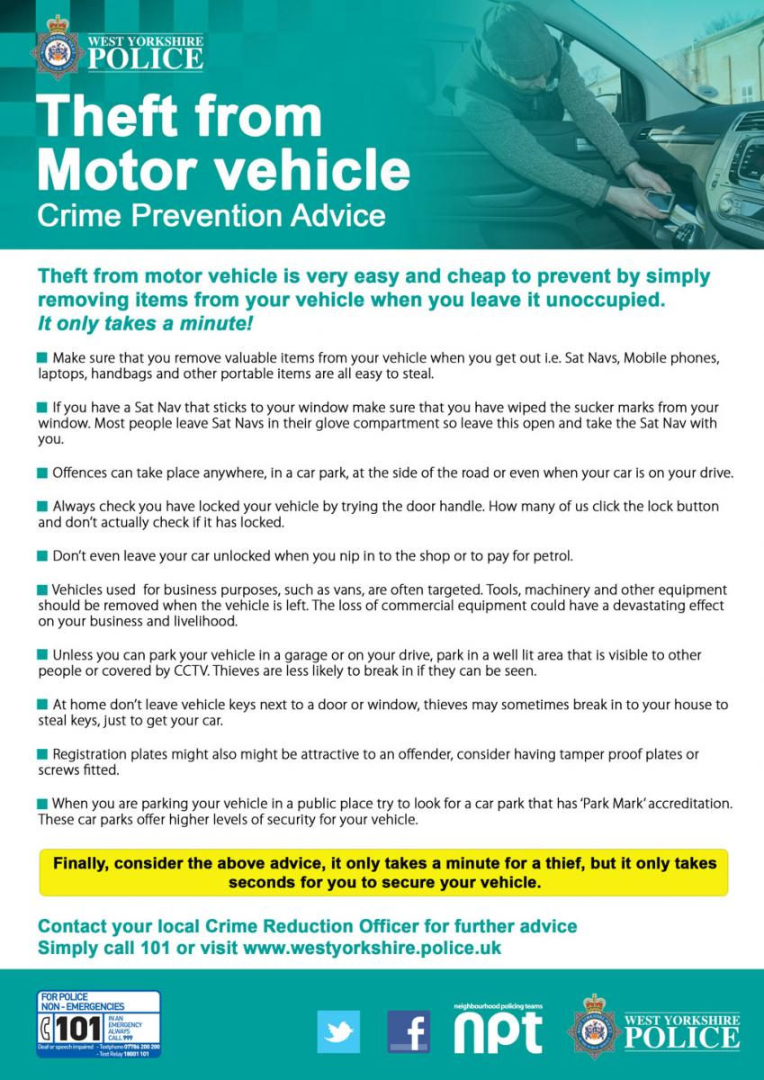 Crime Prevention Advice Leaflets West Yorkshire Police