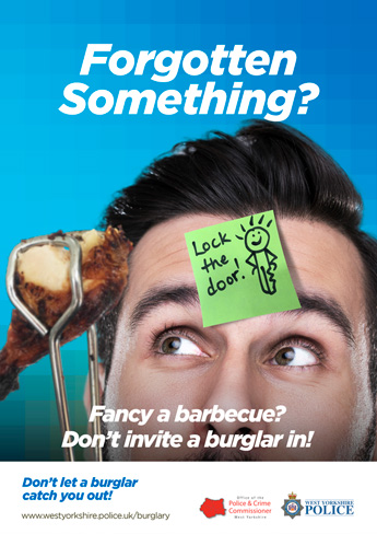 """Forgotten Something?"" lock the door sticky note poster"