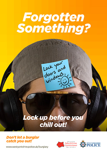 """Forgotten Something?"" lock your doors sticky note poster"