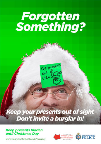 Santa put presents out of view