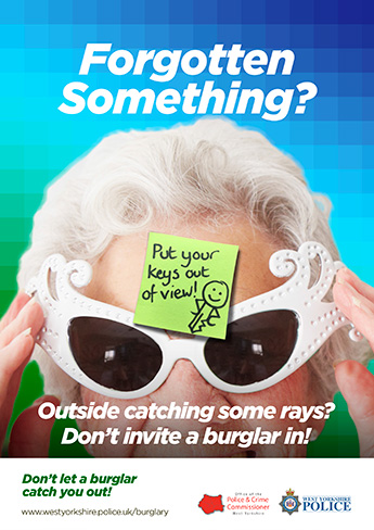 """Forgotten Something?"" put your keys out of view sticky note poster"