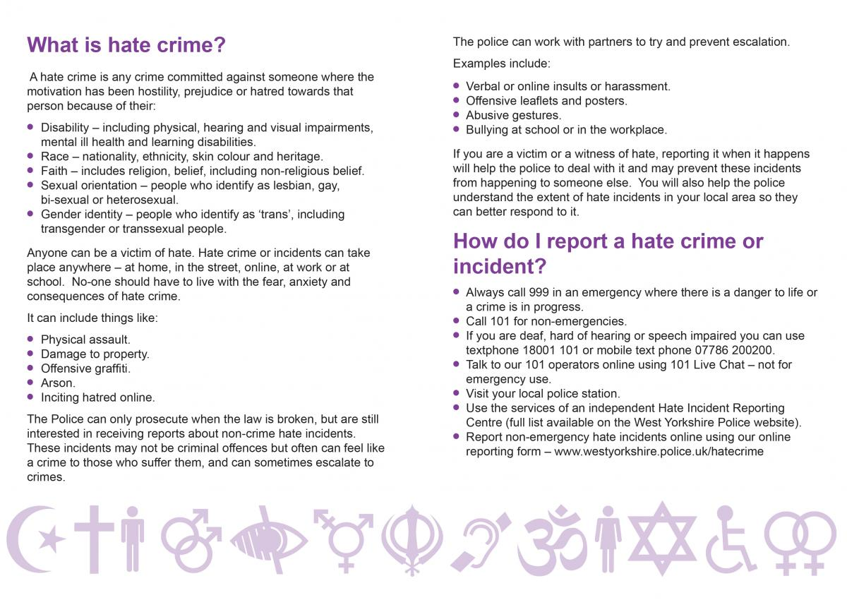 hate crime hate incidents west yorkshire police hate crime leaflet