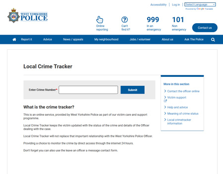 Local Crime Tracker