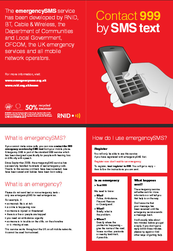 Contact 999 by SMS Text (PDF)