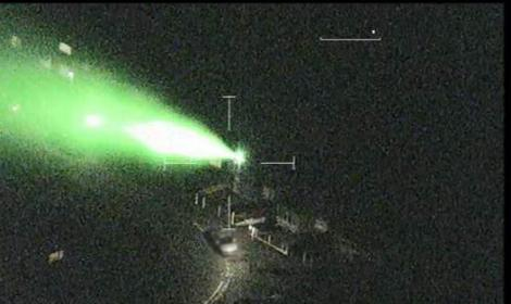 Laser pen being pointed at aircraft