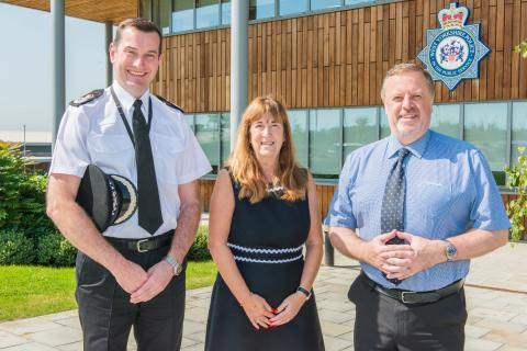Chief Constable John Robins QPM, Leeds Trinity University Vice Chancellor Professor Margaret A House OBE and Police and Crime Commissioner Mark Burns-Williams