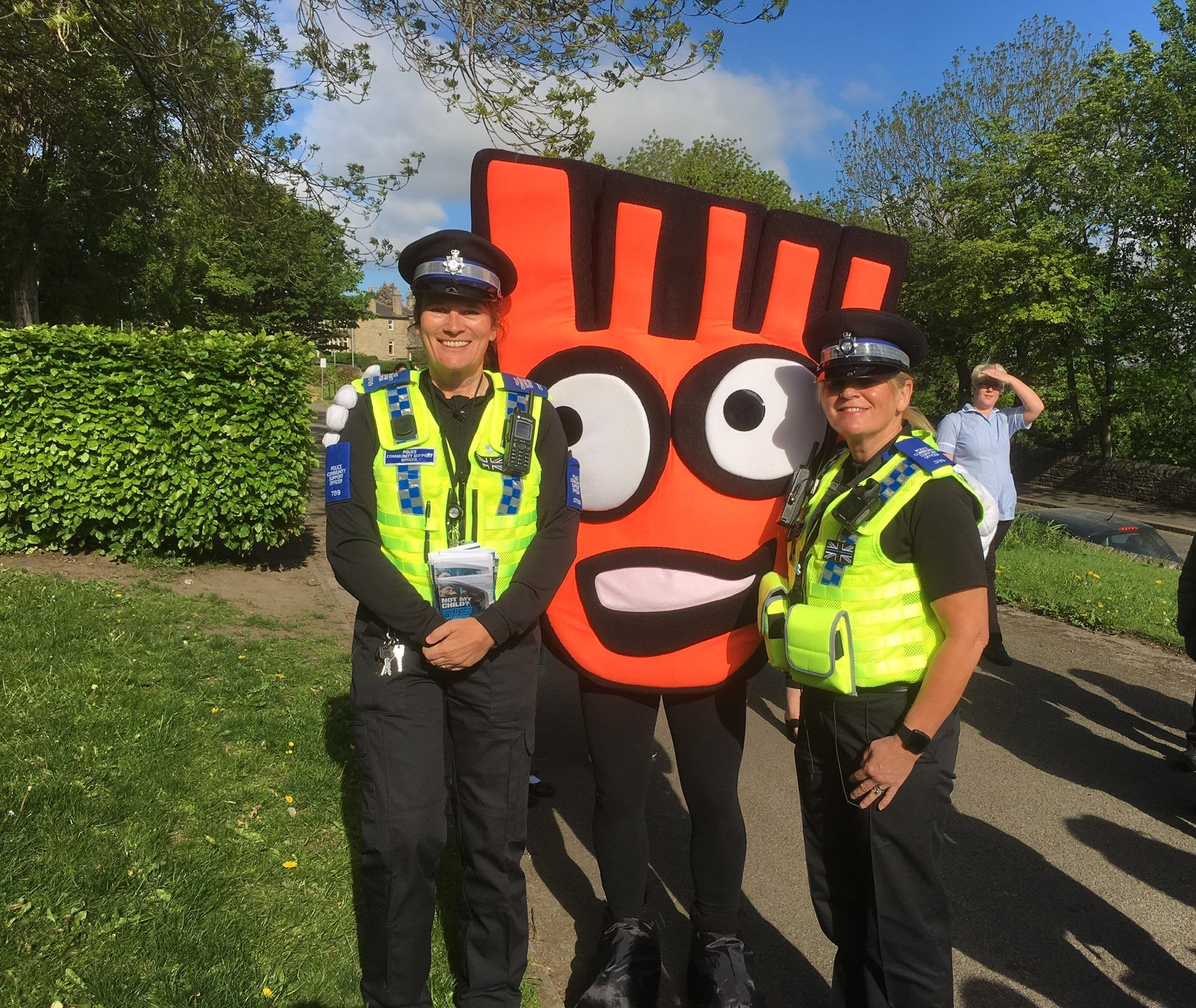 PCSO Browning and Drury-Berry with the Park and Strike Mascot