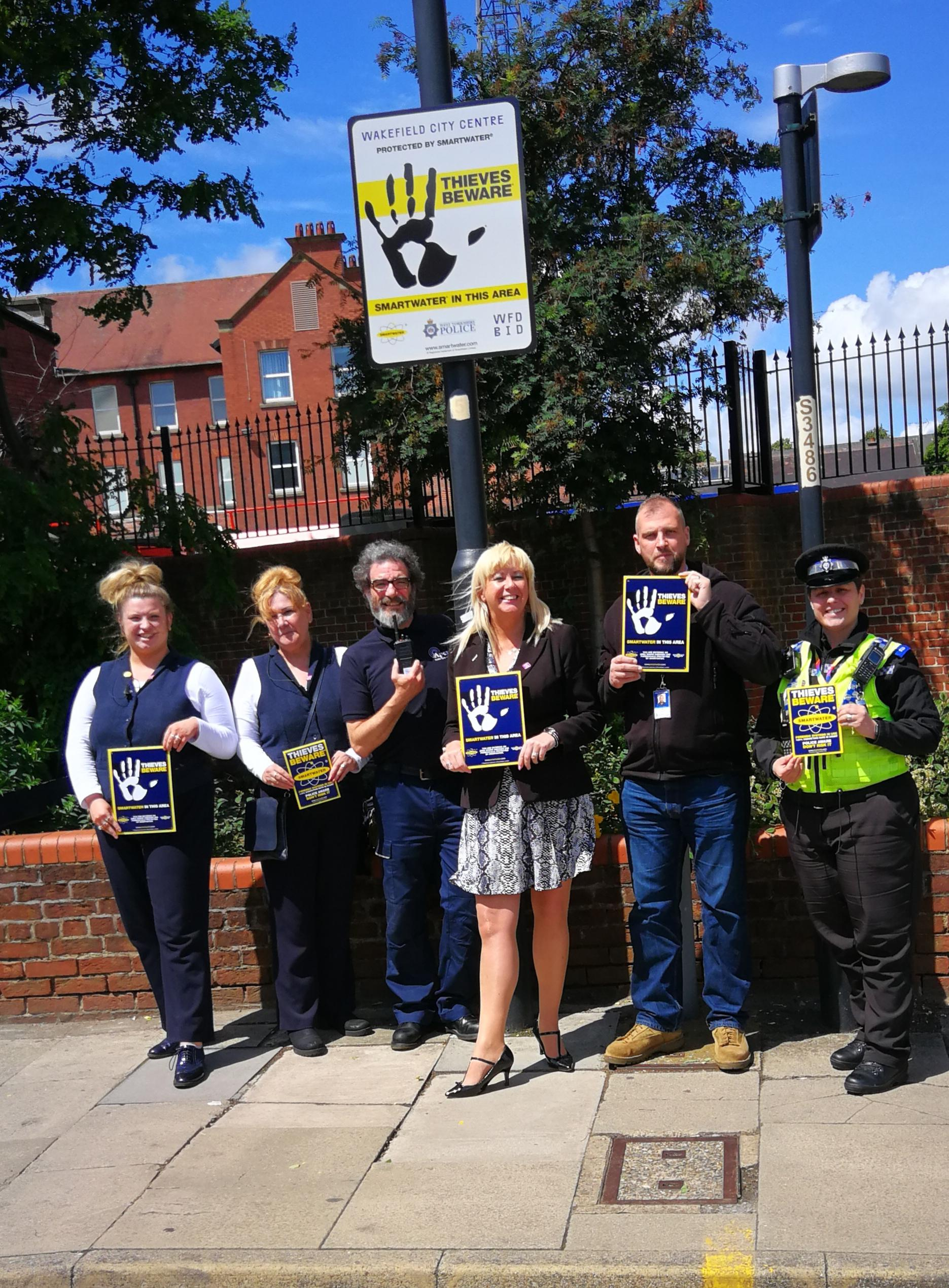 Wakefield Police and Wakefield BID at a new Smartwater Zone