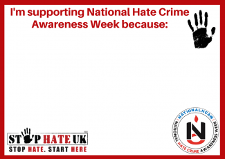 Image of I'm supporting National Hate Crime Awareness week because pledge poster