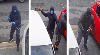 cctv pictures showing damage being caused to a car