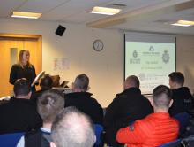DI McEwan briefs officers prior to the six warrants being carried out