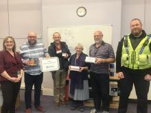 Photo: From left, Lisa Raynor, Cllrs Simon Kimberley, Robert Finnigan, Shirley Varley, Jim Aveyard and PCSO Alex Goodall.