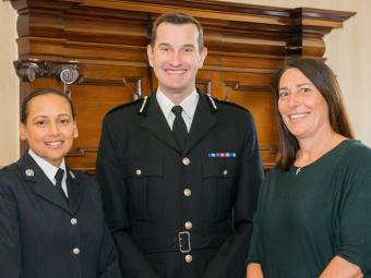 PC Firzana (Fiz) Ahmed Temporary Chief Constable John Robins and Temporary Detective Inspector Hayley Nortcliffe